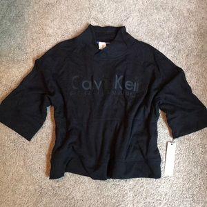 NWT - Black Calvin Klein Short Sleeve Sweatshirt M